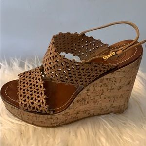 Tory Burch Leather Wedge Sandal 9